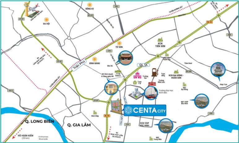 Vị trí Centa City Bắc Ninh