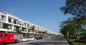 Phối cảnh khu 63 shophouse có mặt tiền là phố đi bộ và khu mua sắm, ẩm thực.